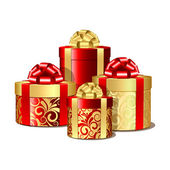 Red and gold gift boxes — Stockvector