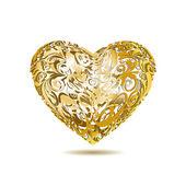 Gold Openwork Floral Heart — Stock Vector