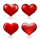 Set of Big Red Hearts — Stock Vector