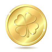 Golden coin with clover. — Stock Vector