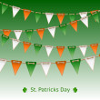 Patrick day card with flag garland — Stock Vector