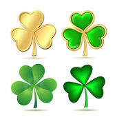 Set of clovers isolated on white. — Stock Vector