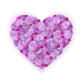 Pink heart of petals on white background — Stock Vector