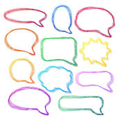 Hand-drawn, colorful speech bubbles — Stock Vector