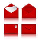Set of Red envelopes. — Stockvector