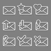 Mail envelope web icons set on dark background. — Stock Vector