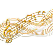 Musical notes staff background on white. — Stock Vector