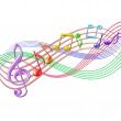 Colorful musical notes staff background on white. — Stock Vector