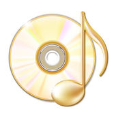 Gold musical note and cd disk — Stock Vector