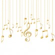 Card with musical notes and golden treble clef — Stock Vector