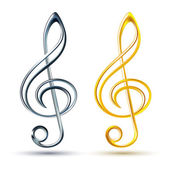 Gold and silver treble clef on white background — Wektor stockowy