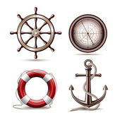 Set of marine symbols — Stock Vector