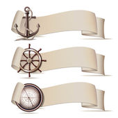 Set of banners with marine icons. — Stock Vector