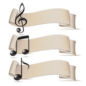 Set of banners with music icons. — Stock Vector