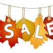Stock Vector: Hanging vector sale with autumn leaves