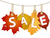 Hanging vector sale with autumn leaves — Stock Vector
