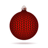 Red Knitted Christmas Ball. — Stock Vector