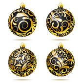 Set of Black and gold Christmas balls — Stock Vector