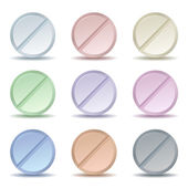 Set of color pill icons — Stock Vector