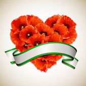 Flower heart of red poppies with ribbon. — Vector de stock