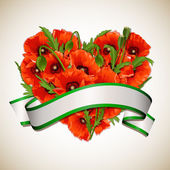 Flower heart of red poppies with ribbon. — Stockvector