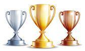 Vector gold, silver and bronze winners cup. — Stock Vector