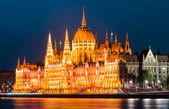 Hungarian Parliament, twilight view, Budapest. Orszaghaz. — Stock Photo