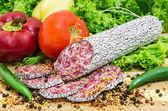 Salami rebanado — Foto de Stock