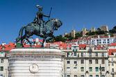 Figueira piazza e dom joao mi statua, lisbona — Foto Stock