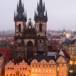 Stare Mesto Square in Prague with Tyn Church. - Stock Photo