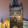 Stare Mesto Tower from the Charles Bridge at night, Prague. — Стоковая фотография