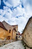 Narrow strett on Rasnov Fortress, Romania — Stock Photo