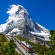 Stock Photo: Gornergrat train and Matterhorn. Switzerland