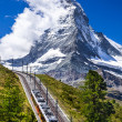 Gornergrat train and Matterhorn. Switzerland — Stock Photo #22903860