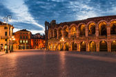 Piazza Bra and Arena, Verona amphitheatre in Italy — Stock Photo