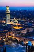 Verona night view with Ponte Pietra and Duomo — Stock Photo