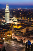 Ponte Pietra and Duomo of Verona in night, Italy — Stock Photo