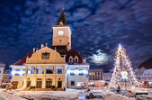 Brasov, Council Square in Christmas night — Stock Photo