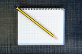 Office pad-notebook and a pencil on the jeans. — Stock Photo