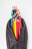 Leather pencil case and pencils on paper in the lineup. — Stock Photo
