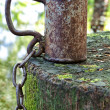 Old iron cup with a chain on the stump. — Stock Photo