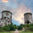 Ruins chervonogorodsky castle and its towers - Stock Photo
