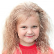 Beautiful little girl smile. On a white background. — Foto de Stock