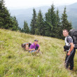 The descent from the top of group of tourists the Carpathian Mou — Stock Photo #13193375