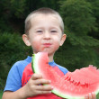 Jolly boy eating greedily tasty watermelon. — Stock Photo