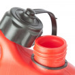 Throat red jerry cans for of fuel. On a white background. — Stock Photo