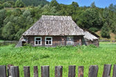 Old wooden abandoned house, near the forest. Carpathians. — Foto de Stock