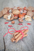 Arrangement of various nuts and sticks Canela. — Stock Photo