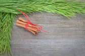 Christmas frame with sticks Canela. On a wooden texture. — Stock Photo