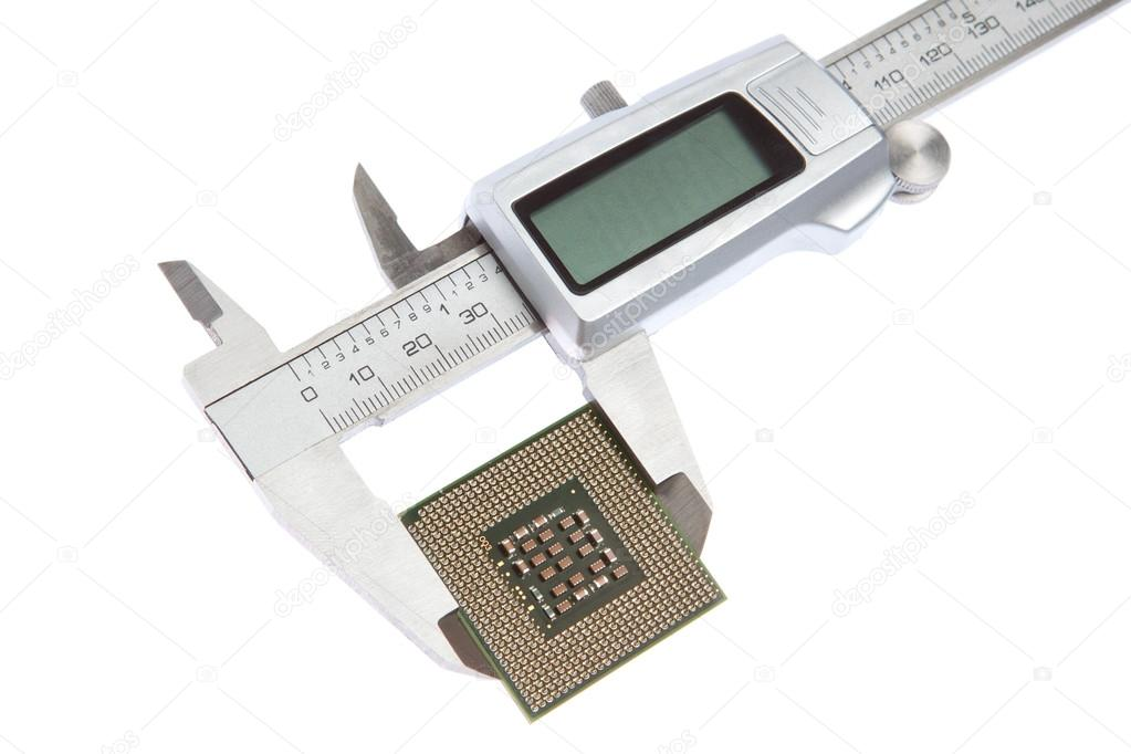 Vernier caliper measures the CPU. On a white background. — Stock Photo #13635647